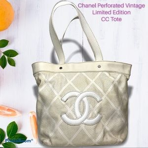 Chanel Perforated Vintage Limited Edition CC Tote